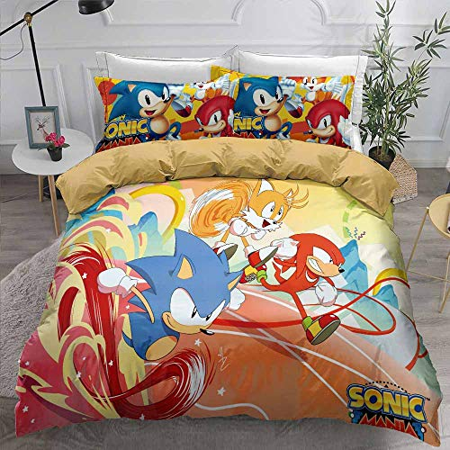 kxry Sonic Mania Game Printed Duvet Cover Set Japan Anime Cartoon Bedding Sets for Boys Teens 1 Duvet Cover + 2 Pillow Shams Queen Size Blue Red