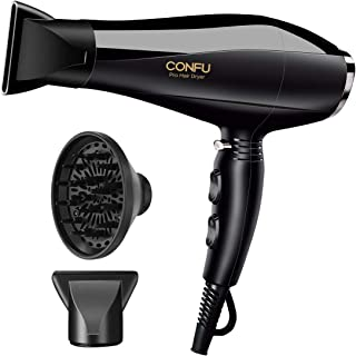 1875W Professional Salon CONFU Hair Dryer for Faster Drying, Negative Ion Blow Dryer with 2 Speed and 3 Heat Setting Hairdryer,AC Motor with Diffuser & 2 Concentrator for Healthy Hair, ETL Certified