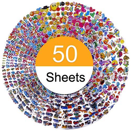 Pegatinas para niños 1200+, 50 hojas diferentes, Relieve 3D pegatinas hinchadas, Scrapbooking, Bullet Journal, Calcomanías de Animales, Letras, Números, Emoji, Estrellas y Mucho Más