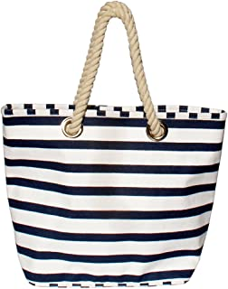 """Gama Strandtasche xxl beachbag, Einkaufstasche marine, Shopper maritim aus Segeltuch, Classic """"Bari"""" Breite ca. 50cm, Höhe ca. 39cm mit Innentasche, Beach Bag"""