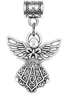 Angel charm in antique silver by Mossy Cabin for large hole snake chain charm bracelets or add to neck chains or key chains
