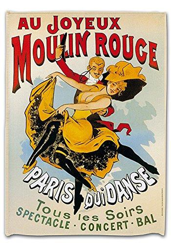 TORCHON DE CUISINE 45x65 cm PUB RETRO AU JOYEUX MOULIN ROUGE PARIS FRANCE