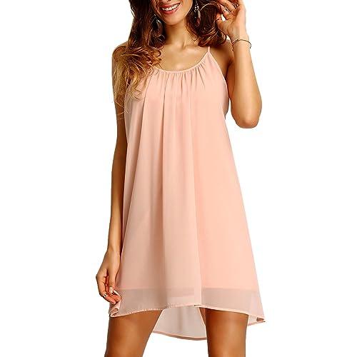 b180974897ef Romwe Women s Spaghetti Strap Sundress Hollow Out Summer Chiffon Beach Short  Dress