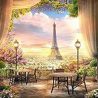 baocicco 8x 8ft Effel Towerバックドロップビニール写真Backgroud高プラットフォームParis Panorama Sunset Glow Landscape Flower Bouquet古いランタンカーテンウェディングホリデー子供大人肖像画