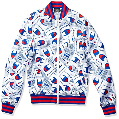 Champion LIFE Men's Satin Baseball Jacket-All Over Print, Jockey Tang Scatter max White, 3X Large