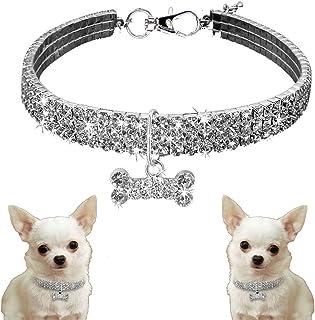 Mini Pet Dog Bling Rhinestone Collars, Dog Collar Bone Shaped Shiny Puppy Necklace for Small Dog [White]