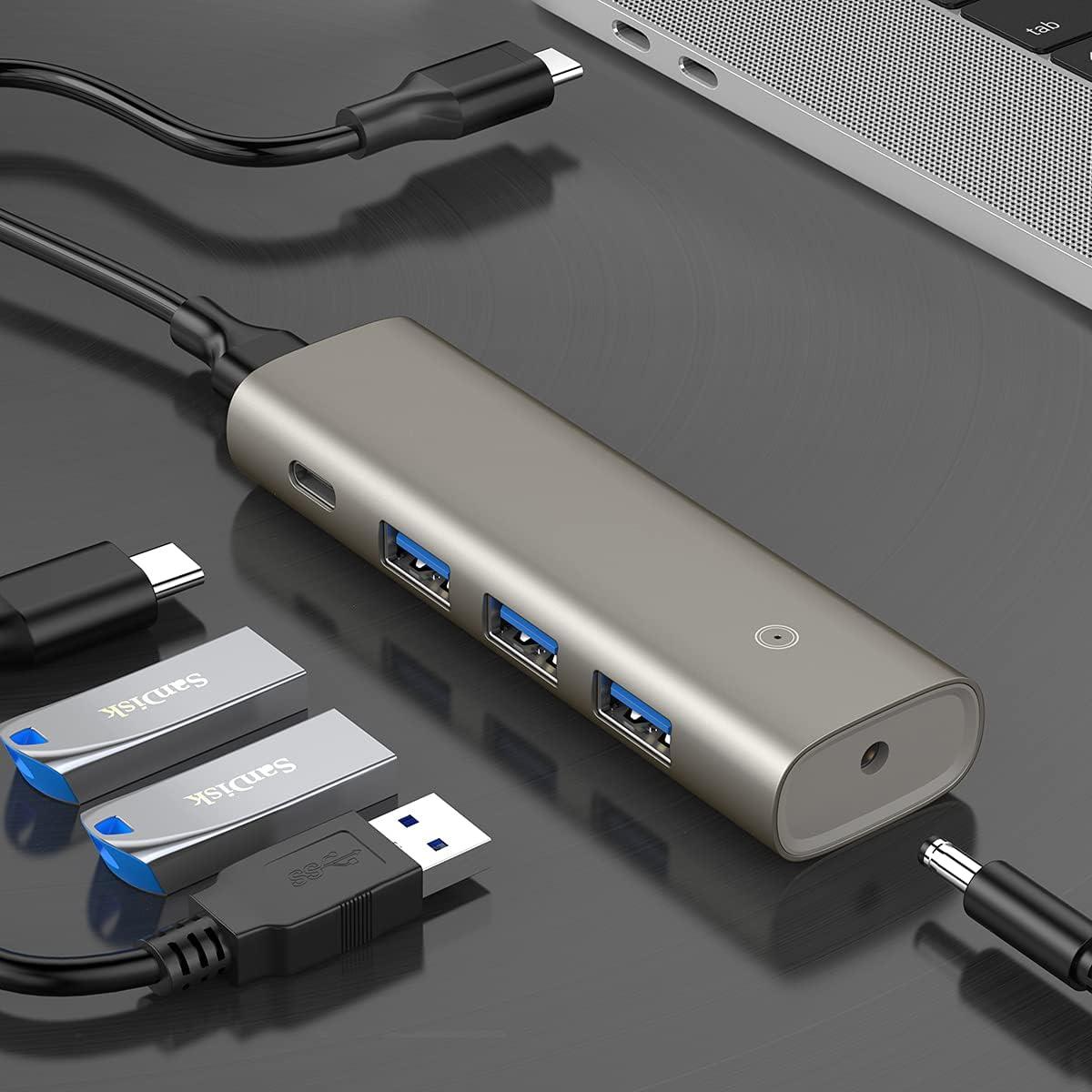 10Gbps USB C Hub Docking Station USB 3.2/3.1 Gen 2 Data Hub Type C Multiport Adapter with 3 USB 3.0 Ports, 1 USB C Port Bus Powered USB C Dock Data USB Splitter for MacBook/Surface/Samsung Galaxy...