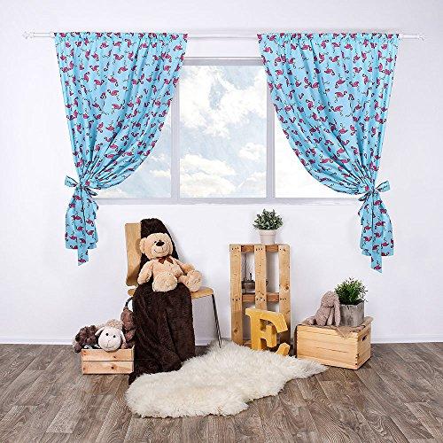 LULANDO Kinderzimmer Vorhänge Kindervorhänge Gardinen (155 cm x 120 cm) mit zwei Schleifenbändern zum Verzieren. In kinderfreundlichen Motiven erhältlich. Farbe:  Flamingos Blue