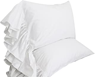Queen's House White Ruffles Bed Sheet Set Cotton 4-Piece King Size-Style G