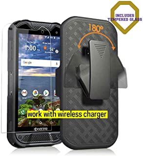 Kyocera Duraforce Pro 2 Case with [HD Tempered Glass Screen Protector],Microseven Compatible with PRO-2 Phone (Verizon) E6910 E6900 Slim Belt Clip Holster Cover [Kickstand], Work with Wireless Charger