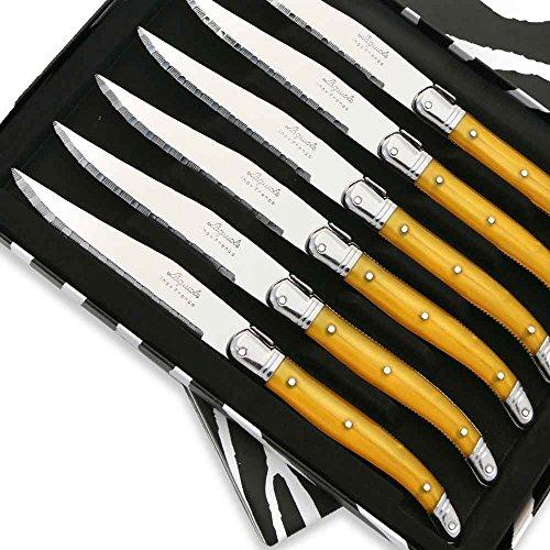 Coffret de 6 Couteaux à steak Laguiole ABS de couleur jaune