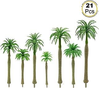YS03 21PCs Model Trees Mini Layout Rainforest Plastic Train Palm Tree Diorama Scenery Mix Size Model Palm King Coconut Trees 2.5''-7.1''/7-18cm HO OO N TT Scale