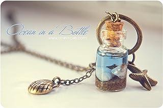 Oceano in una collana bottiglia, bottiglia di vetro con conchiglie, collana di conchiglie di oceano in miniatura, pendente...