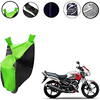 Auto Pearl - 100% Water Proof PVC Matty Neon Green & Blue Bike Body Cover with Mirror Pockets, Buckle Belt, Carry Bag - Ya...
