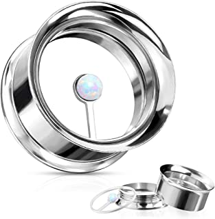 Covet Jewelry Large CZ Centered Rim 316L Surgical Steel Double Flared Screw Fit Tunnels