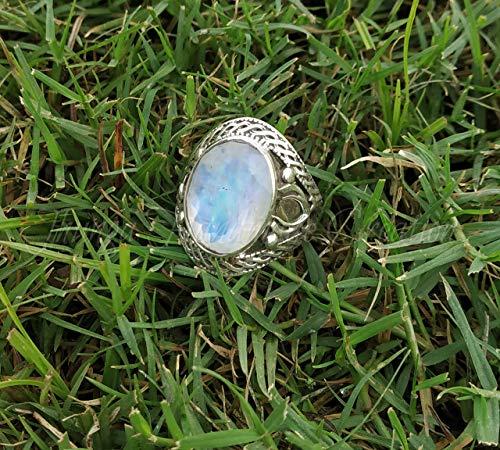 Moonstone Ring, Moonstone engagement ring, Gift for Her, 92.5% sterling silver ring, Promise Ring, Blue Flash Ring, June Birthstone, Large Moonstone Ring, Natural Moonstone Gemstone Ring -  Shri Ganesh Jewellery