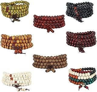 sadsdsds 8pcs Wood Mala Prayer Beads Bracelet Elastic Sandalwood Link Wrist Necklace 108 8mm for Men and Women