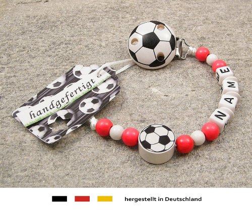 kleinerStorch Baby SCHNULLERKETTE mit Namen - Motiv Fussball in Vereinsfarben - rot, weiß