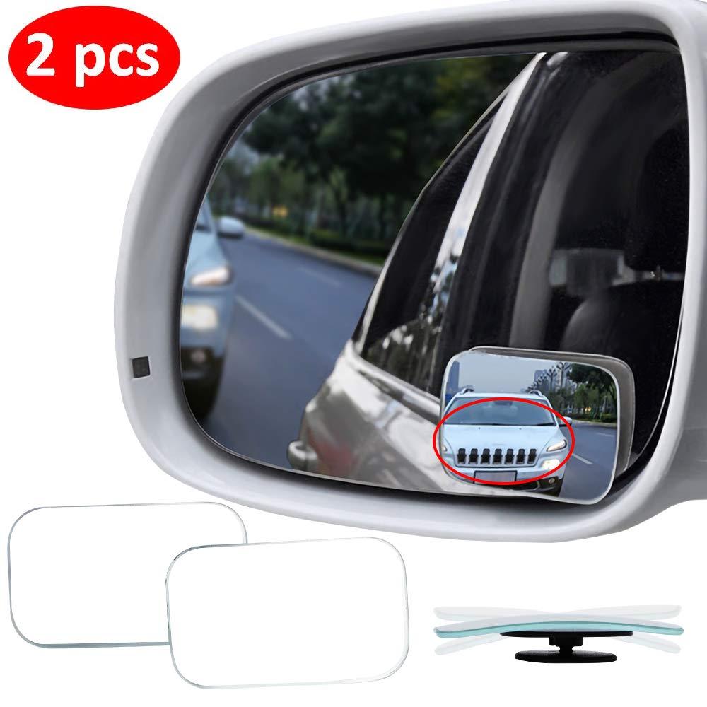 2 PCS HD Glass Convex Lens Frameless Adjustable Blind Spot Mirror for All Universal Vehicles Car Stick-on Design 2 Pack Amfor Rectangle