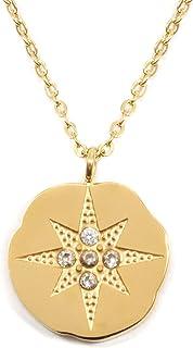 b58169af2ab4 Happiness Boutique Damas Collar de Moneda y Estrella en Color Oro