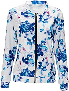 Women Classic Long Sleeve Zip Up Floral Baseball Bomber Jacket Coat