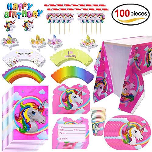 Howaf Kit de Mesa Fiesta de Unicornio cumpleaños, 100 Piezas: Platos Desechables Vasos, Mantel, Pastel Cupcake Toppers, Invitaciones, Bolsas De Regalo