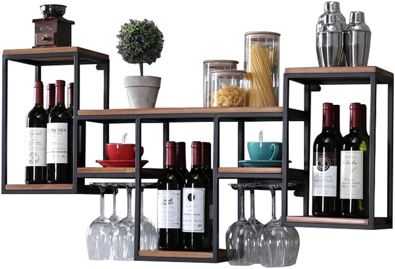 LKK Europische Schmiedeeisen Massivholz Weinregal Ablage Regal Wand Weinregal, kreative Restaurant Dekoration Wein Schrank Wein Glas Halter