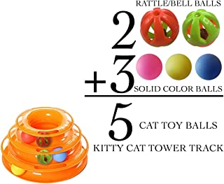 Kitty Cat Tower Track - 3- Tiered Ball Toy for Kittens & Cats. 3 + 2 = 5 Balls for Interactive Play for Hours of Entertainment & Exercise - BONUS 2 Rattle/Jingle Bell Balls for Added Fun