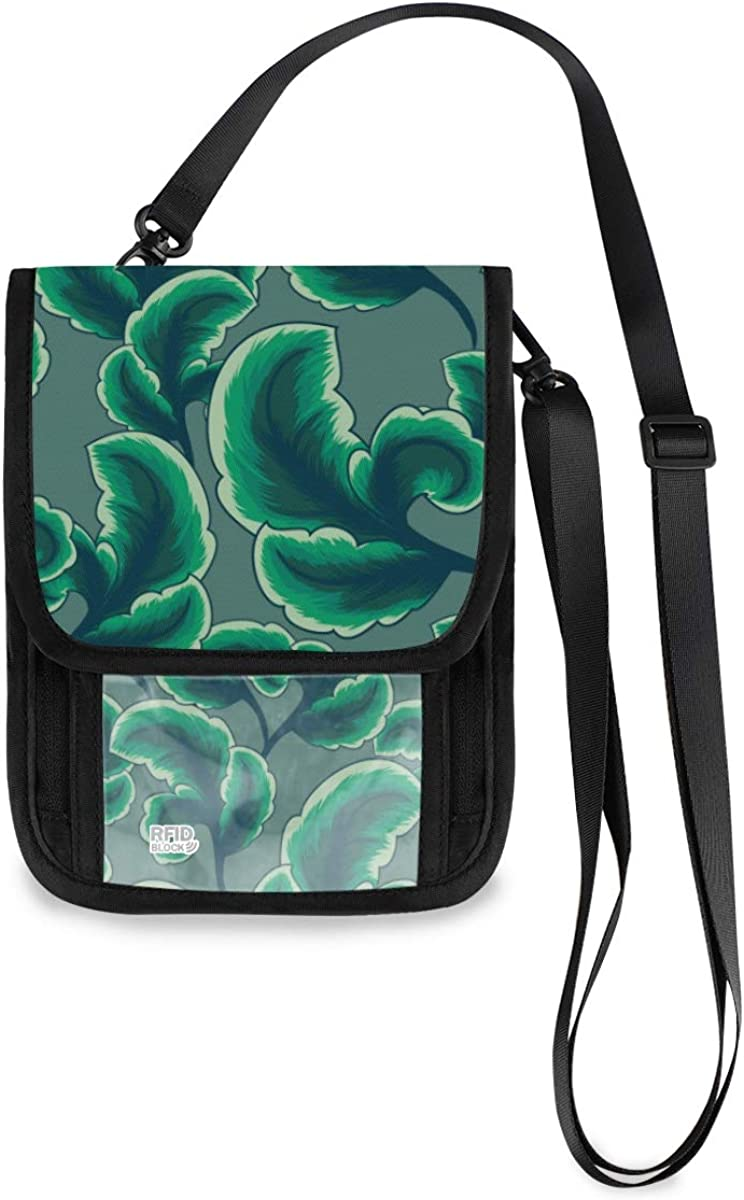 RFID Ranking TOP8 Blocking Travel Ranking TOP15 Neck Wallet Tropical Floral - Foliage Leave