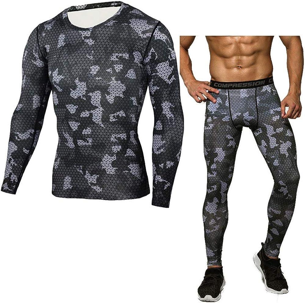 ENKA Camo Men's Thermal Underwear Sets Winter Gear Base Layer Long Johns; Tops+Pants