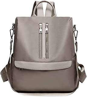 JpOTSUT Female Men's Backpacks Versatile Lightweight Oxford Cloth Waterproof Student Bag Anti-Theft Multi-Function Travel Bag The North face Backpack (Color : Gray)