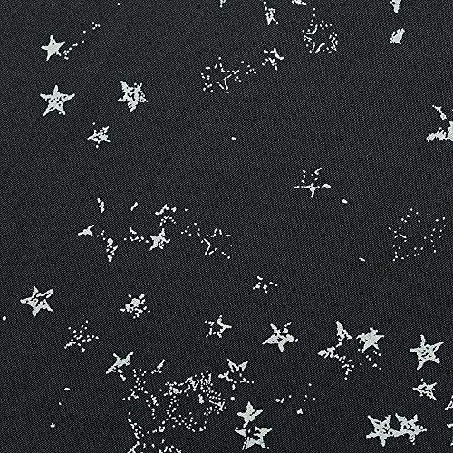 Dekoth -Cotton Fabric 100% Cotton Poplin Printed Woven Bundles Voile for DIY Crafting Patchwork Sewing, Full Width 1 Piece cuttable 39 x 56 inches (100x142cm) (Black with White Stars)