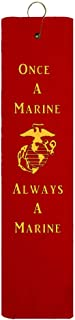 Once A Marine Always A Marine EGA Marine Corps Tri-fold Golf Towel with Grommet & Hook Father's Day Club Ball Tee Golfing Gift Birthday Variety Colors Towels Vinyl