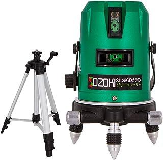 SOZOKI 5ライングリーンレーザー墨出し器+三脚セット SL-35GD リチウム電池×2本 3種類給電方式 4方向大矩ライン 6ドット レーザーレベル 高輝度 高精度 ダイレクトグリーンレーザー [メーカー1年保証]