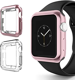 Alritz for Apple Watch 3 Bumper 38mm, Soft TPU Protective Case Cover for iWatch Series 1 Series 2 Series 3 Nike+ Sport Edition, Rose Gold and Clear