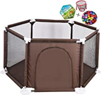 MWPO Kids Activity Park Kids Activity Center Kids Babies Inside Breathable Protection mesh net with 200 bales included and play mats (brown)