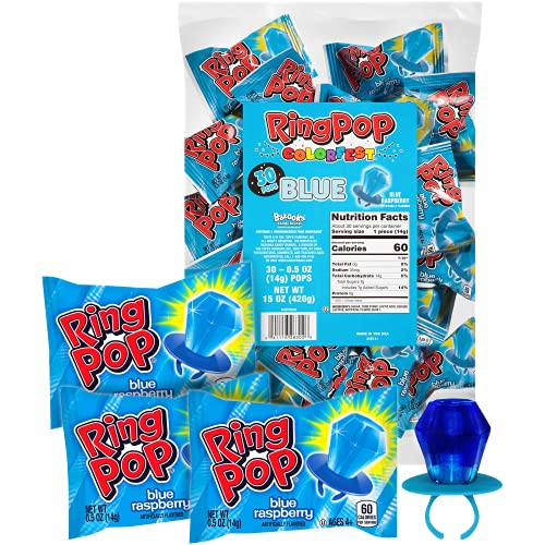 Ring Pop Individually Wrapped Blue Raspberry Party Pack – 30 Count Blue Raspberry Flavored Candy Lollipop Suckers - Blue Candy for Halloween Celebrations and Parties