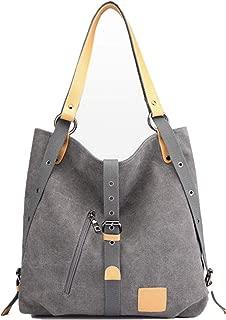 DAYFINE Women's Vintage Canvas Large Tote Top Handle Handbag Shoulder Bag Ladies Satchel Purse Casual Shopping Bag, Light Black (Light Black) - Dayfine04US-lightblack-1