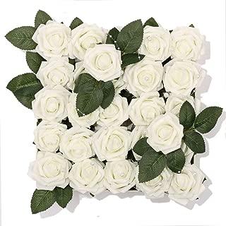 Meiliy 60pcs Artificial Flowers Ivory Roses Real Looking Foam Roses Bulk w/Stem for DIY Wedding Bouquets Corsages Centerpieces Arrangements Baby Shower Cake Flower Decorations