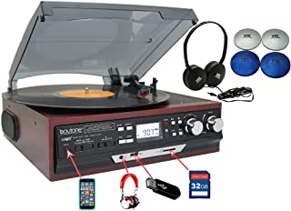 Boytone Bundle BT-17DJM-C 3-Speed Stereo Turntable with Headphone 2 Built in Speakers Digital LCD Display AM/FM, USB/SD/AUX+ Cassette/MP3 & WMA Playback /Recorder & Headphone Jack + Remote Control