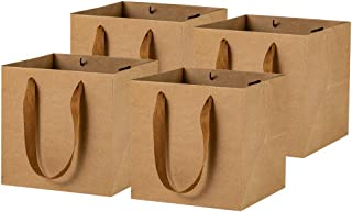 6inch Square Brown Kraft Paper Bags Flowers Gift Bags With Ribbon Handles,Pack of 12