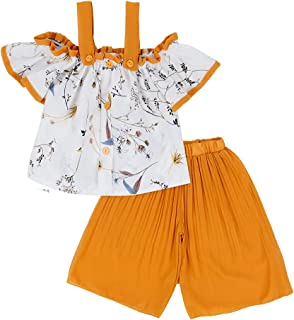 Hopscotch Baby Girls Polyester Cold Shoulder Top and Pant Set in Yellow Color