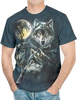 Wmeyiseyiy Camiseta de manga corta para hombre, diseño de tres lobos y luna