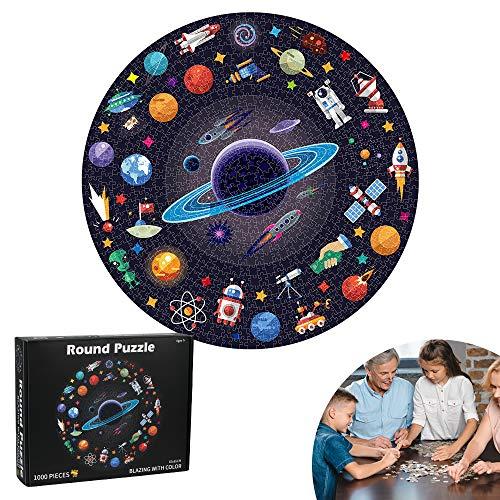 Puzzle Redondo, 1000 Piezas Redondo, Puzzle Rompecabezas, Puzzle Adultos, Puzzle Creativo, Puzzle Circular, Juguete Educativo Intelectual Desafío Intelectual Juegos para Adultos Niños (Espacio)