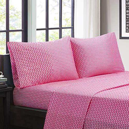 Intelligent Design ID20–295 Mikrofaser knitterfrei, weiche Bettlaken mit 30,5 cm Tasche, modern, für alle Jahreszeiten, gemütliches Bettwäsche-Set, passender Kissenbezug, Twin, Chevron Pink, 3-teilig