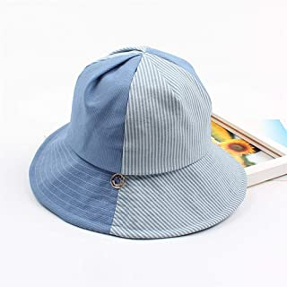 ZWHMZ Fisherman Hat Female Japanese Style Literary Casual Stripe Contrast Sun Hat Spring and Summer Wild Soft Sister Student Travel Basin Cap (Color : Blue, Size : Adjustable)