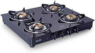 Glen 4 Burner Glass Gas Stove 1043 Glass Top , Brass Burner, Automatic Ignition (Black) with Sturdy Pan Support (Chulha)