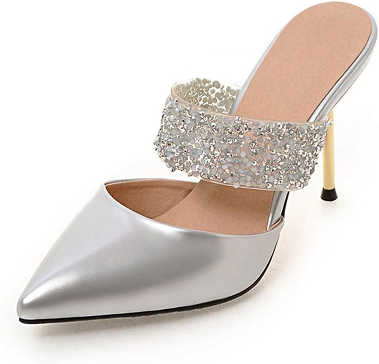 York Zhu Women Pumps, Concise Bling Strap Pointed Toe Thin Metal Heel Wedding shoes