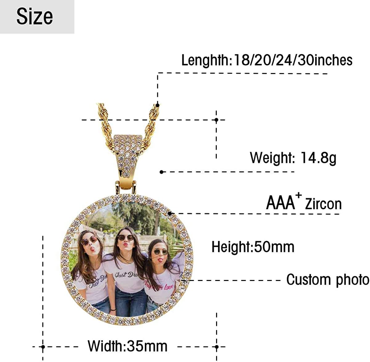 Three Good Friends Make Faces together Custom Pendant with Photo Personalized Picture Necklace Pendant