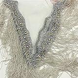 N\A La Cinta del cordón 1 PC de la Astilla de Cristal Bordadas moldeadas Brillantes de Las borlas del Collar V-Profundo Escote de Vestido de Novia de Bricolaje Ropa Ancha los 25-30CM (Color : Silver)